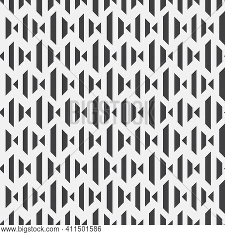 Seamless Vector Patterns. Abstract Monochrome Wallpaper With Regular Repetition Of Angular Shapes, R