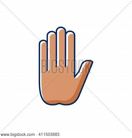 Stop Gesture Rgb Color Icon. Prohibition Of Something. Palm Of A Hand With Five Fingers. Images Of H