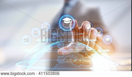 Online Education Internet Learning E-learning Concept On Digital Interface.