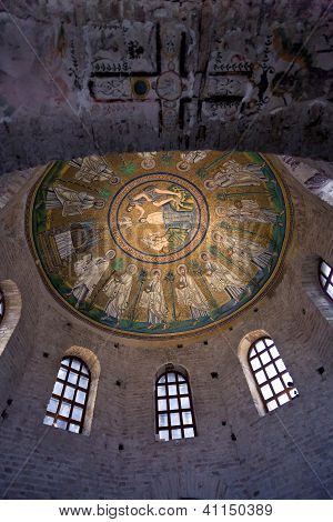 Ceiling Mosaic Of The Arian Baptistery And Ancient Christian Cross