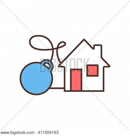 Real Estate-related Debt Rgb Color Icon. Buy-and-hold Rental Property. Homeownership Financial Burde