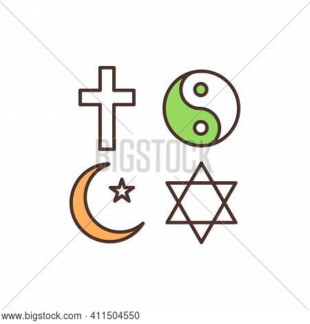 Religious Symbols Rgb Color Icon. Christianity, Buddhism, Islam, Judaism. Cross, Crescent With Star