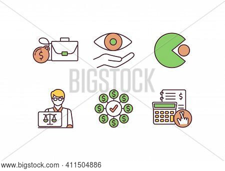 Corporate Law Rgb Color Icons Set. Corporate Insolvency. Shareholding. In-house Counsel. Attention T