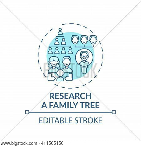Research A Family Tree Concept Icon. Family Bonding Tips. Getting New Information About Relatives. F