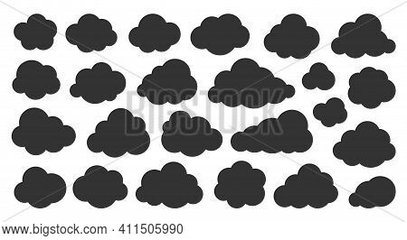 Clouds Black Silhouette Icon Set. Glyph Vector Symbol Of Weather, Database, Cloud Storage Or Network