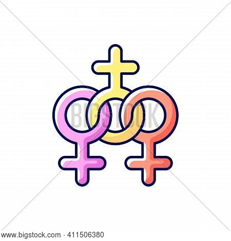 Women Community Rgb Color Icon. Movement For Equalization Of Women Rights. Social Movements For The