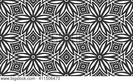 Abstract Flower Seamless Pattern. Floral Geometric Hexagonal Ornament. Black And White Limitless Bac