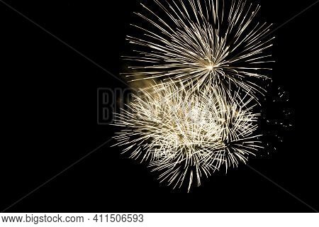 Luxury Fireworks Event Sky Show With Yellow Big Bang Stars. Premium Entertainment Magic Star Firewor