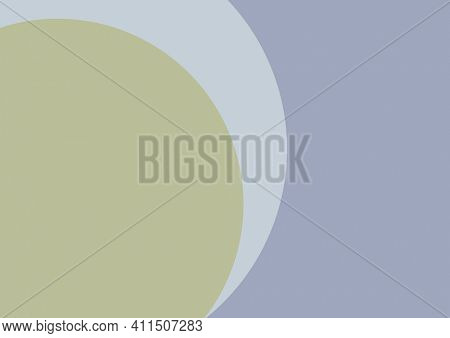 Composition of pale green part circle with pale grey curve on grey background. abstract presentation background design concept with copy space, digitally generated image