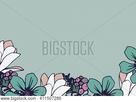 Composition of flower petal and berry frame on lower edge of pale blue background. floral frame presentation design concept with copy space, digitally generated image.