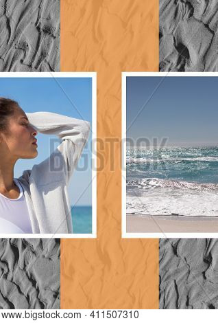 Composition of profile of caucasian woman at seaside with sea image and images of sand in background. seaside holiday and beach leisure concept, digitally generated image.