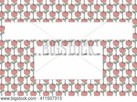 Composition of repeated red flower design on white background with white rectangular copy spaces. floral frame presentation design concept with copy space, digitally generated image.