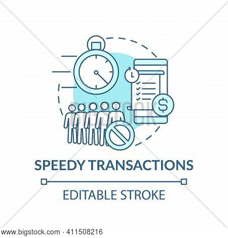 Speedy Transactions Concept Icon. Security Banking Idea Thin Line Illustration. Safety Withdrawal Mo