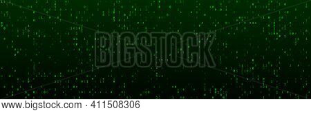 A Stream Of Binary Code On The Screen. Computer Binary Numbers. Coding Concept, Hacker Or Mining Of