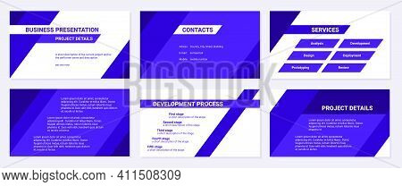 Business Presentation Design Template. Contacts, Services, Development Process And Project Details.