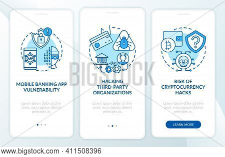 Banking Security Breach Reasons Onboarding Mobile App Page Screen With Concepts. Cyber Safe In Banki