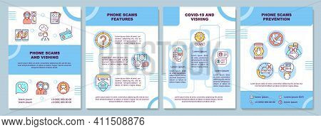Phone Scam And Vishing Brochure Template. Theft Of Private Information. Flyer, Booklet, Leaflet Prin