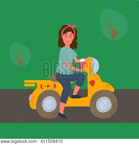 Illustrations Of A Child On A Bike. A Girl In Yellow On A Bike. Transportation Of A Teenager In Natu