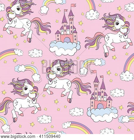 Seamless Pattern Cute Unicorns, Castle And In The Cloudy Sky Isolated On Pink Background. Vector Ill