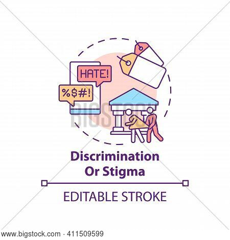 Discrimination Or Stigma Concept Icon. Social Pressure, Human Harassment And Bullying. Religious Iss
