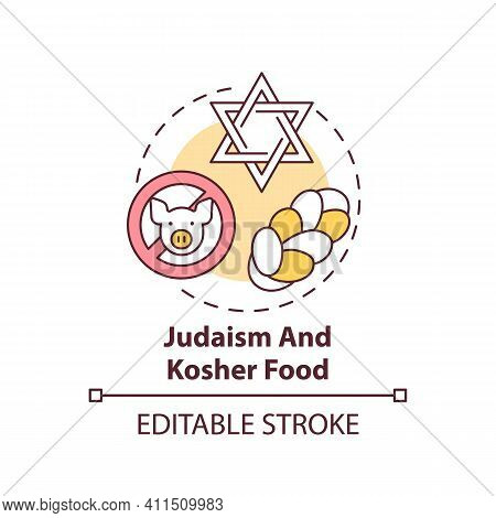 Judaism And Kosher Food Concept Icon. Restrictions In Meals. No Pork Meat. Religious Traditions Idea