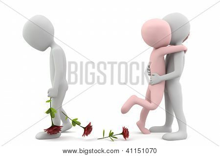 Love For Two. 3D Image. On A White Background