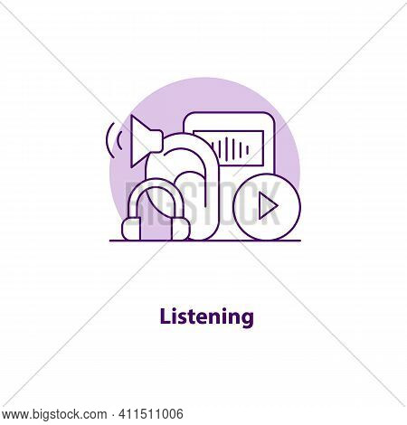 Listening Creative Ui Concept Icon. Wireless Communication Abstract Illustration. Listen To Music On
