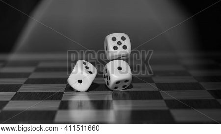 Dice With Black And White Background Beautiful Three Dices Flying Dices In Air Dices In Ludo Game, S