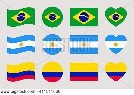 South America Countries Flags. Vector Illustration. Brazil, Argentina, Colombia Official Flag. The L