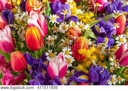 Floral Pattern With Tulips, Irises And Daisies. Colorful Spring Flowers. Valentines Day, Mothers Day