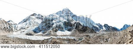Mount Everest And Nuptse Isolated On White, Panoramic View Of Himalayas Mountains, Way To Everest Ba