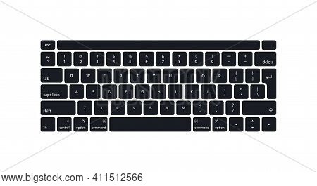 Keyboard Of Computer, Laptop. Modern Key Buttons For Pc. Black Keyboard Isolated On White Background
