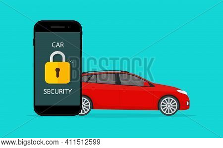 Car Security. Lock Of Security On Vehicle. Guard Of Auto Against Theft In Mobile App. Icon Of Safety