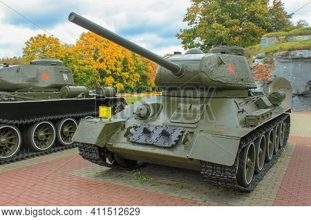 Brest, Belarus - October 5, 2012: Soviet T-34 Tank Of The Latest Modification With An 85-mm Gun In T