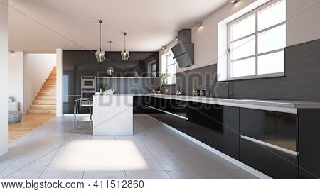 modern black style  kitchen interior. 3d rendering design concept