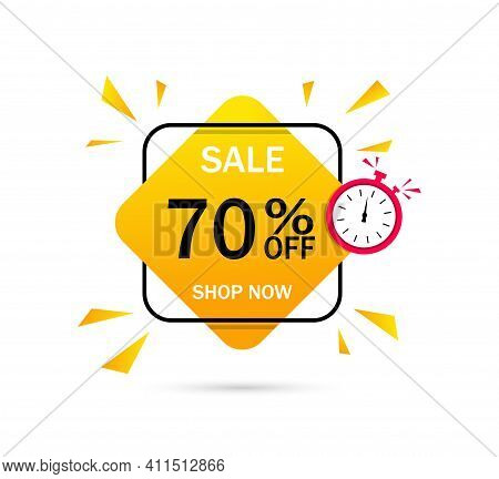 Banner Of Sale With Discount Of 70 Percent. Label For Special Offer With Price. Logo For Promotion O