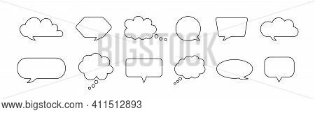 Speech Bubble. Comic Balloon For Thought And Talk. Outline Cloud For Chat. Cartoon Quote Box For Dia