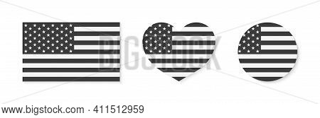 American Flag. Icon Of Usa Patriot With Star And Stripe. Emblem For Proud Of United States Of Americ