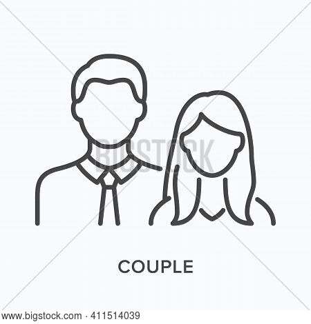 Couple Flat Line Icon. Vector Outline Illustration Of Male And Female. Black Thin Linear Pictogram F