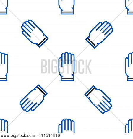Line Garden Gloves Icon Isolated Seamless Pattern On White Background. Rubber Gauntlets Sign. Farmin