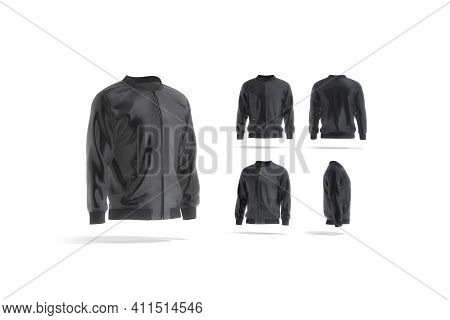 Blank Black Bomber Jacket Mock Up, Different Views Set, 3d Rendering. Empty Windproof Parka Or Jacke