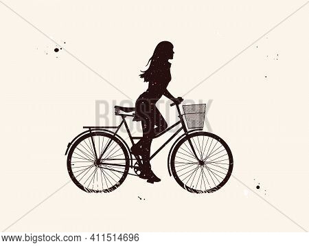 Girl On Bike. Cyclist On Bicycle Abstract Silhouette. Night Starry Sky