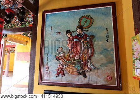 Hoi An, Vietnam, March 8, 2021: Relief Decoration In A Taoist Temple In Hoi An, Vietnam