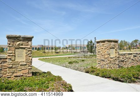 IRVINE, CA - MARCH 24, 2017: Jeffrey Open Space Trail. This open space corridor is one element in the citys overall open space system, linking the conservation and open space lands.