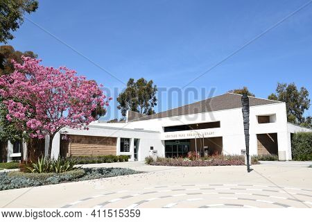 IRVINE, CA - MARCH 24, 2017: Heritage Park Regional Library. The library is located in Heritage Park and adjacent to Irvine High School.