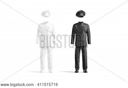 Blank Black And White Chef Uniform Mockup Set, Front View, 3d Rendering. Empty Protection Chief-cook