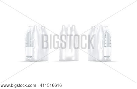 Blank Transparent Plastic Bottle In Pack Mockup, Front And Side View, 3d Rendering. Empty Carbonated