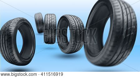 Several Summer Tires Close-up. To Illustrate The Business Of Selling Tires Or Seasonal Wheel Changes
