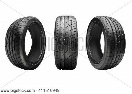 Three New Summer Tires, Isolate On A White Background
