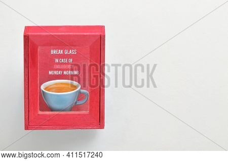 Abstract Coffee Cup In House Cabinet In Red Color Emergency Equipment